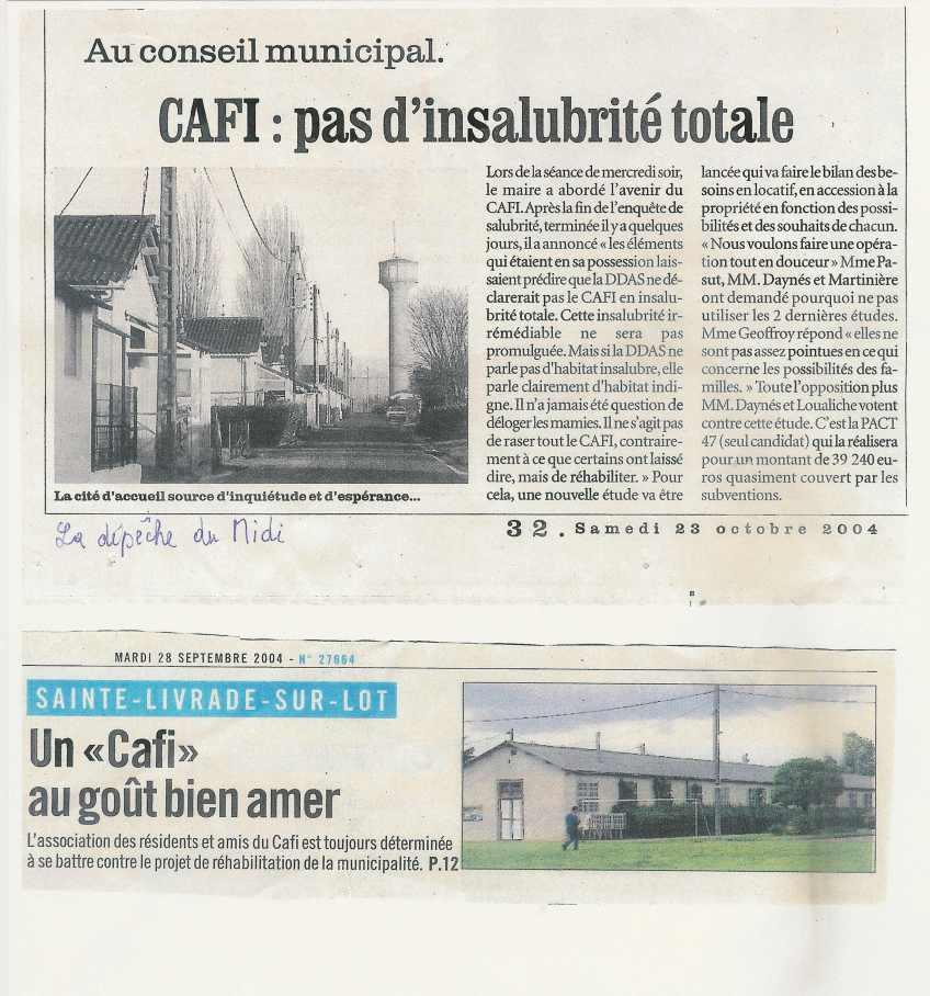 « CAFI : pas d'insalubrité totale » -La Dépêche du Midi - 23 octobre 2004