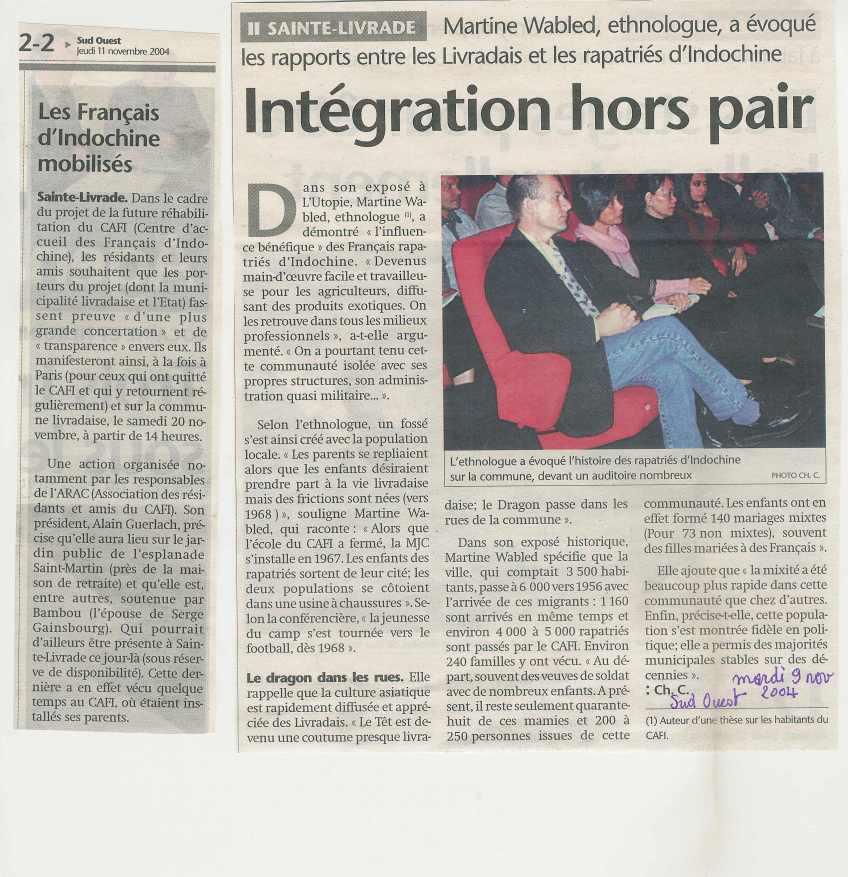 « Intégration hors pair » - Sud-Ouest - 11 novembre 2004