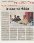 « Le camp veut résister » - La Dépêche du Midi - 29 septembre 2004