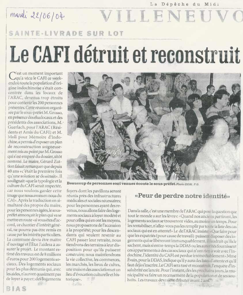 « Le CAFI détruit et reconstruit » - La Dépêche du Midi - 22 juin 2004