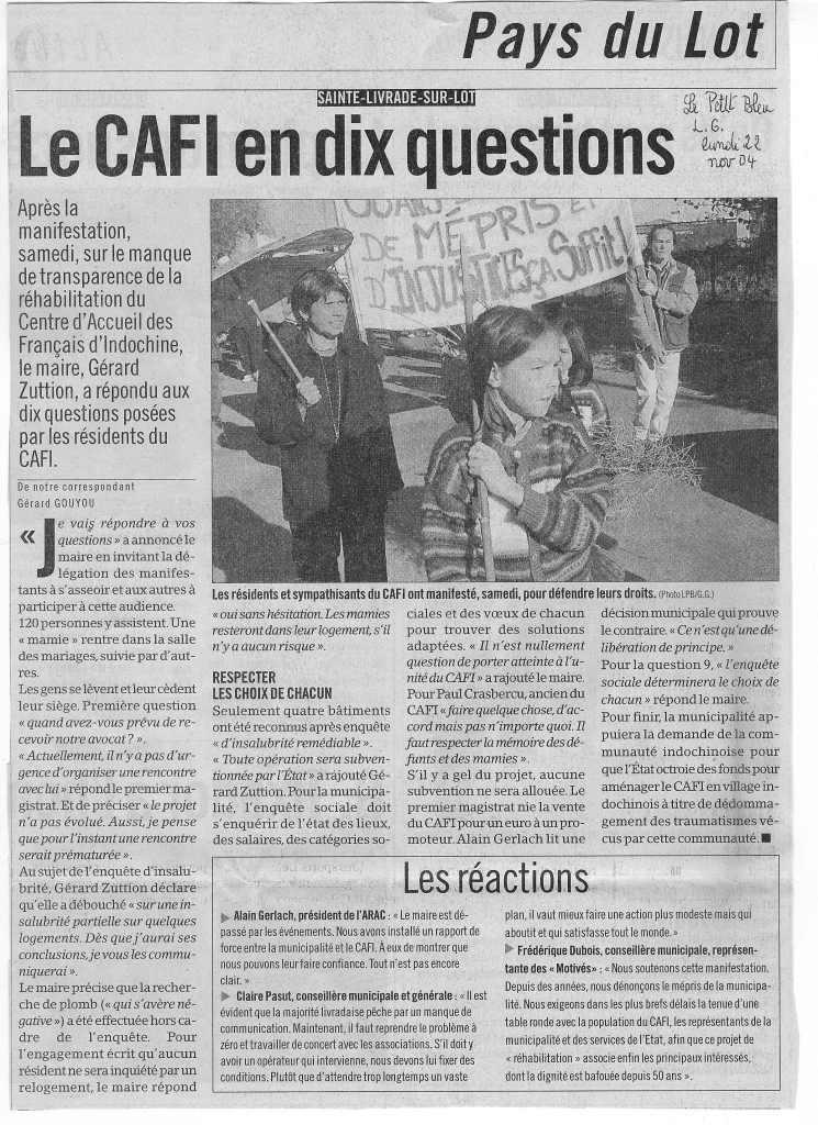 « Le CAFI en dix questions » - Le Petit Bleu - 22 novembre 2004
