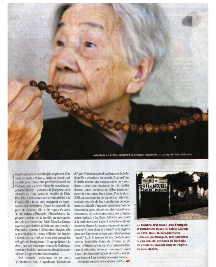 « Les Derniers Rescapés d'Indochine » (2) - Le Nouvel Observateur - 7/13 octobre 2010