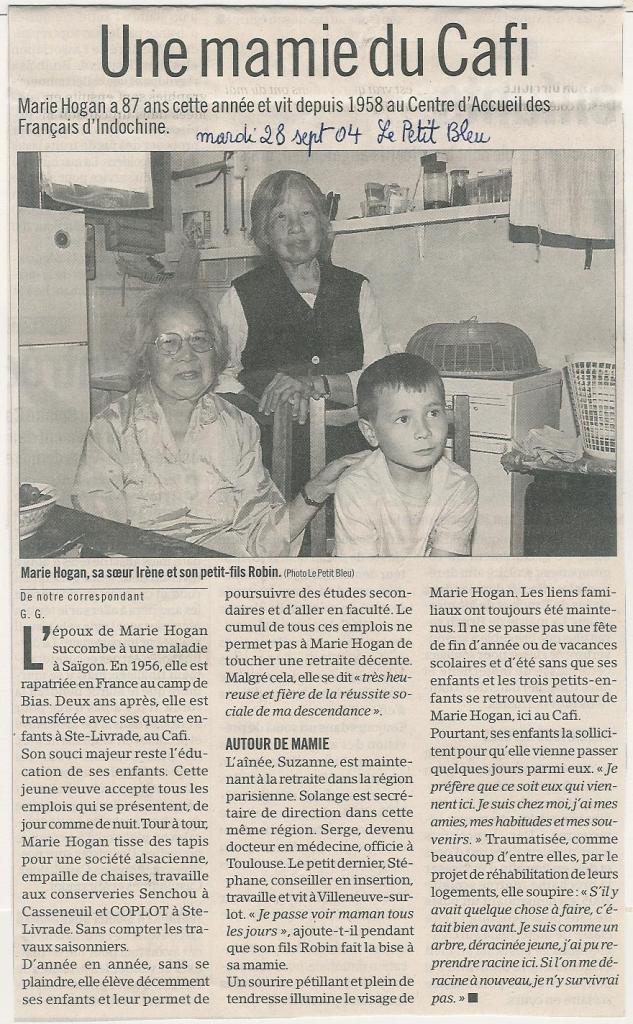 « Une mamie du CAFI » - Le Petit Bleu - 28 septembre 2004