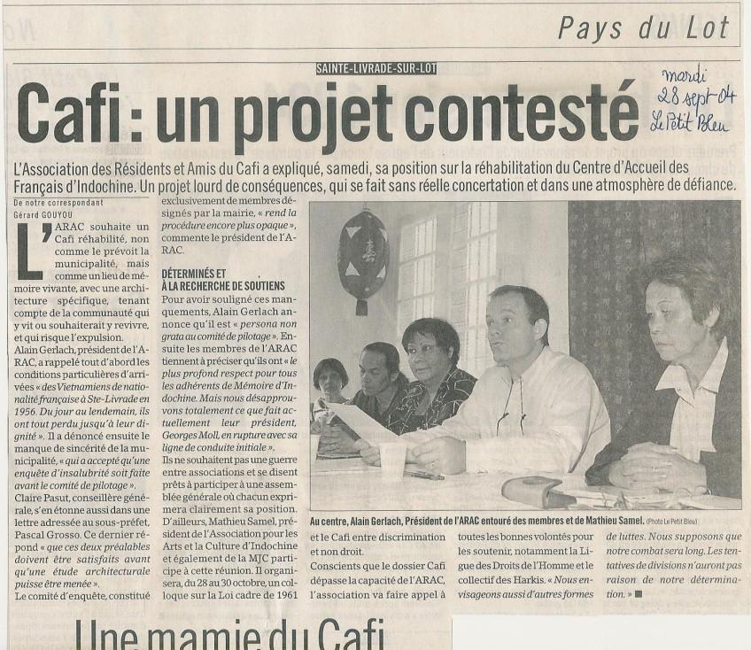 « CAFI : un projet contesté » - Le Petit Bleu - 28 septembre 2004