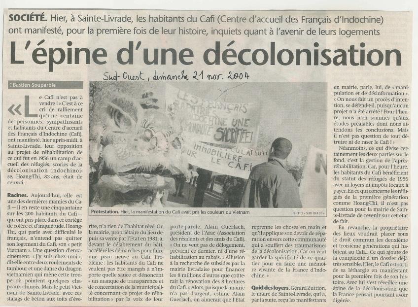 « L'épine d'une décolonisation » - Sud-Ouest - 21 novembre 2004