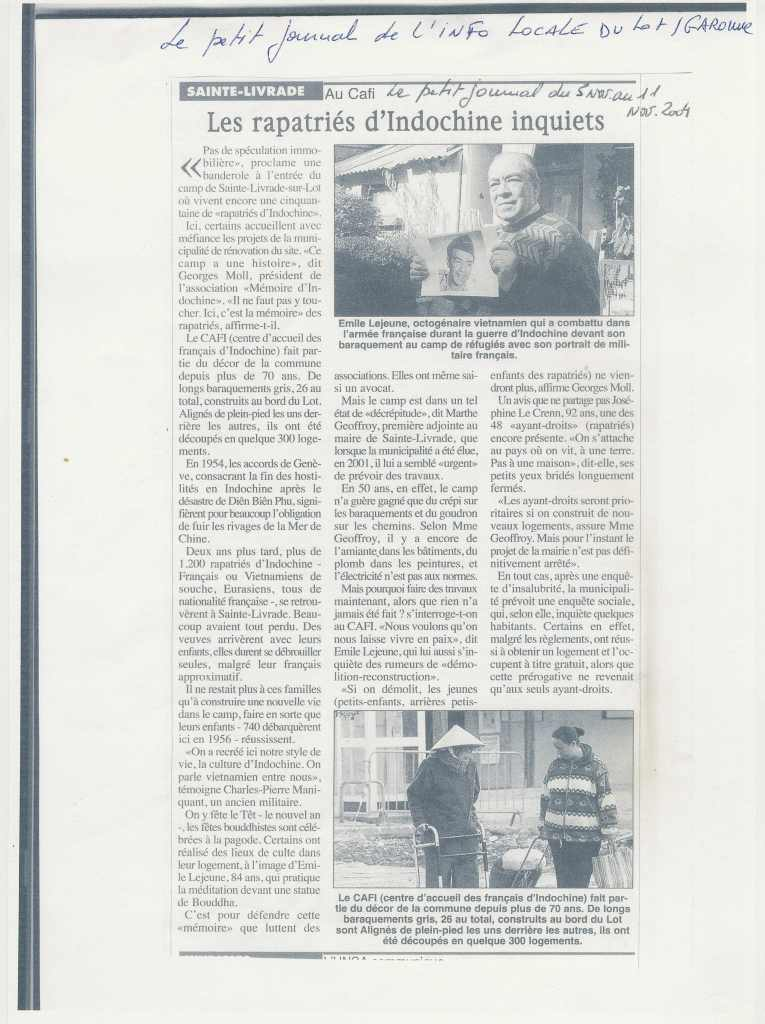Le Petit Journal de l'info locale du Lot-et-Garonne - 11 novembre 2004