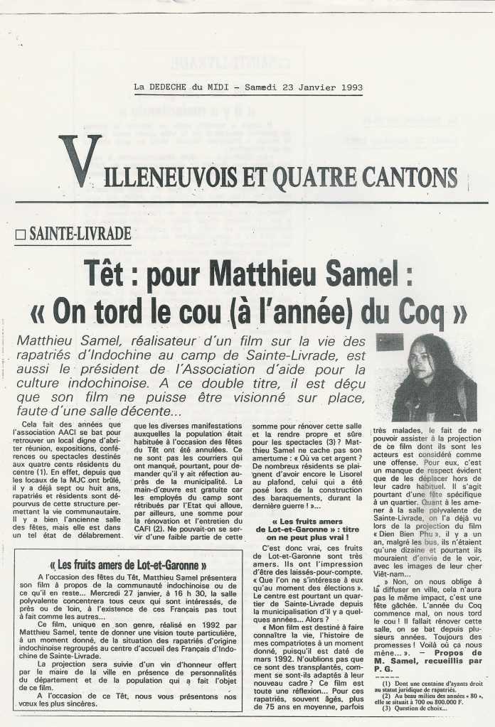 « On tord le cou du coq » (1) - La Dépêche du Midi - 23 janvier 1993