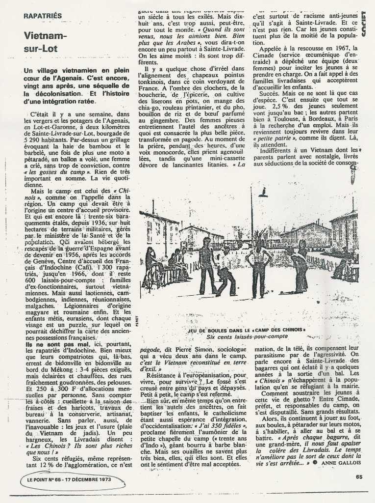 « Viêtnam-sur-Lot » -  Le Point - 17 décembre 1973