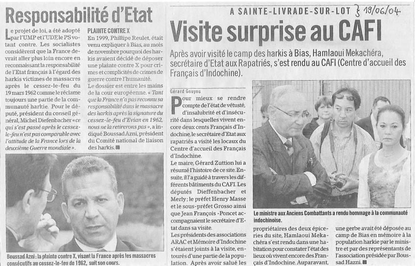 « Visite surprise au CAFI » - Sud-Ouest - 19 juin 2004