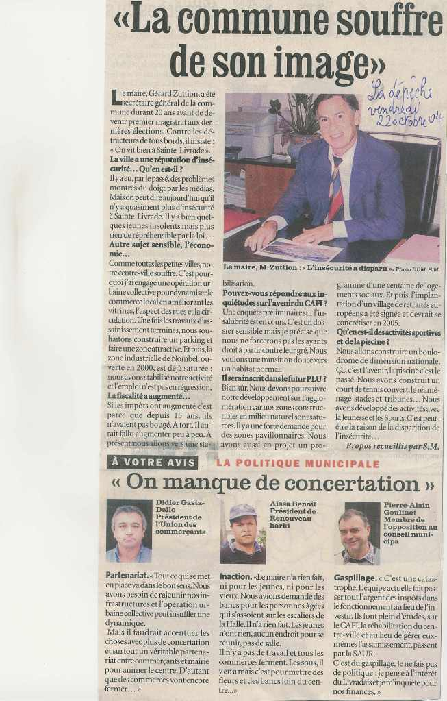 Zuttion : « La commune souffre de son image » - La Dépêche du Midi - 22 octobre 2004