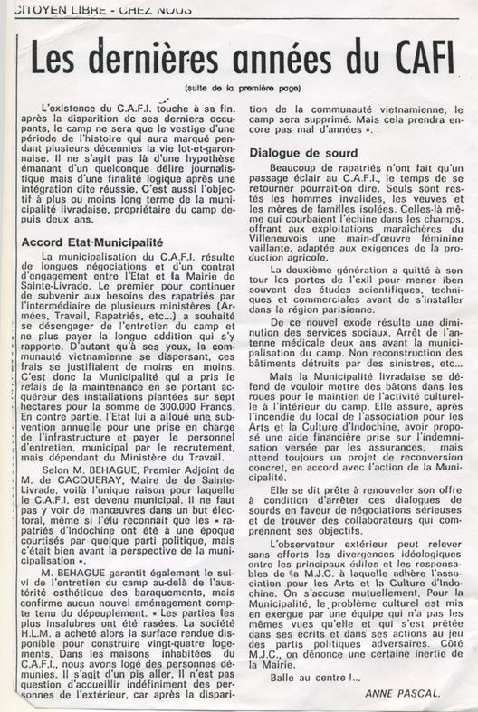 Les dernières années du CAFI - Chez Nous du 25 novembre 1988