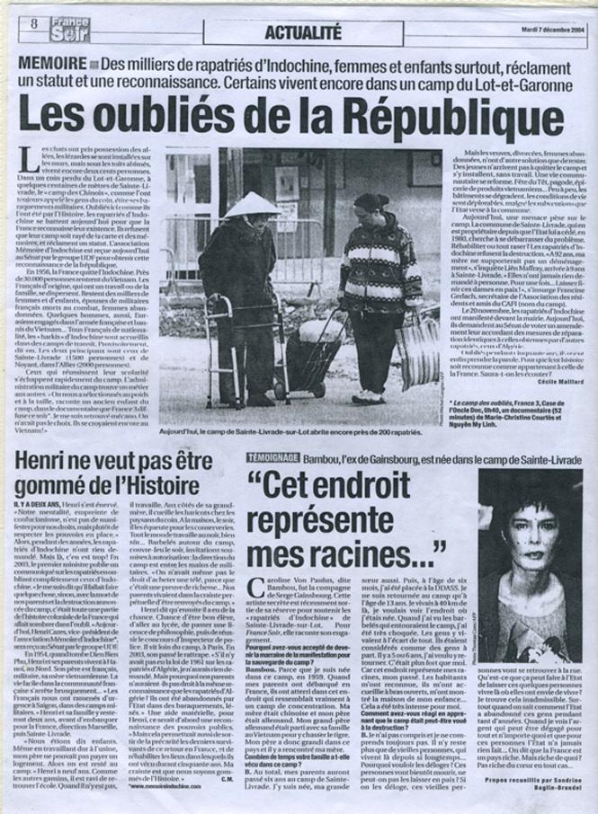 Les oubliés de la république - France Soir du 7 décembre 2004