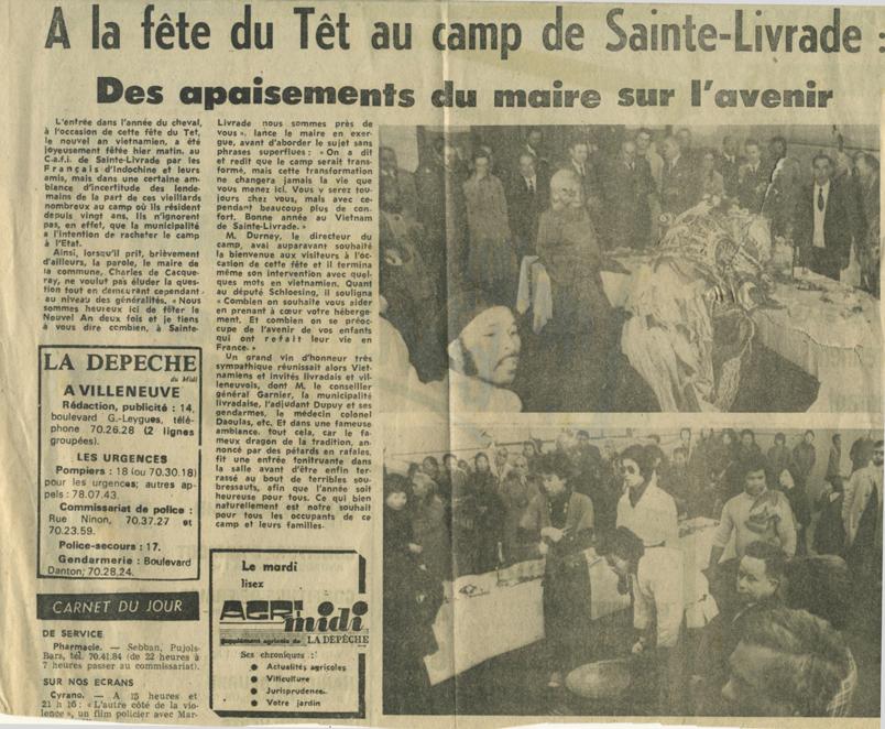 A la fête du Têt au camp de Sainte-Livrade - La Dépêche du 8 février 1978