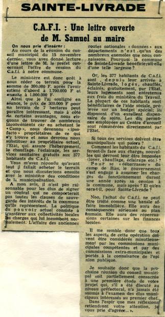 CAFI : une lettre ouverte de M. Samuel au maire - La Dépêche du 25 novembre 1977