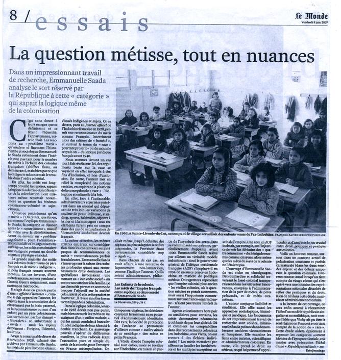 La question métisse, tout en nuances - Le Monde du 8 juin 2007