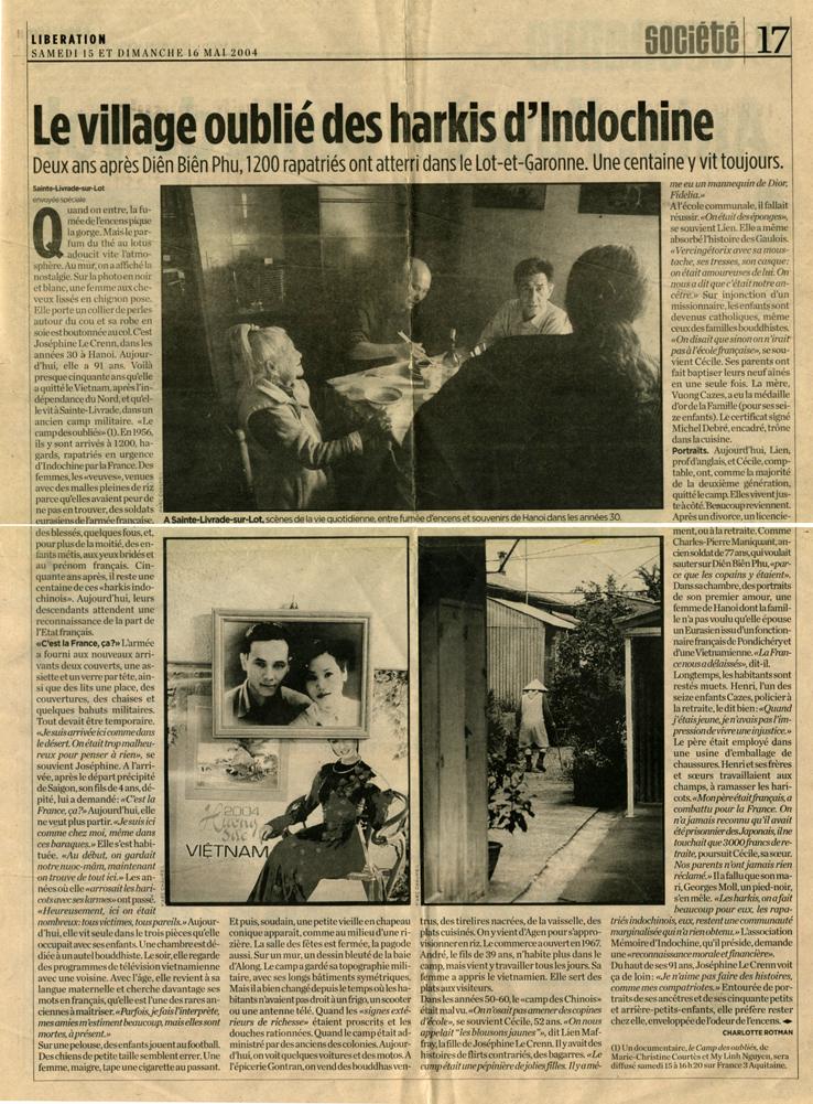 Le village oublié des harkis d'Indochine - Libération du 15-16 mai 2004