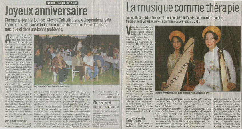 « Joyeux anniversaire » - Le Petit Bleu du Lot-et-Garonne du 16 août 2006
