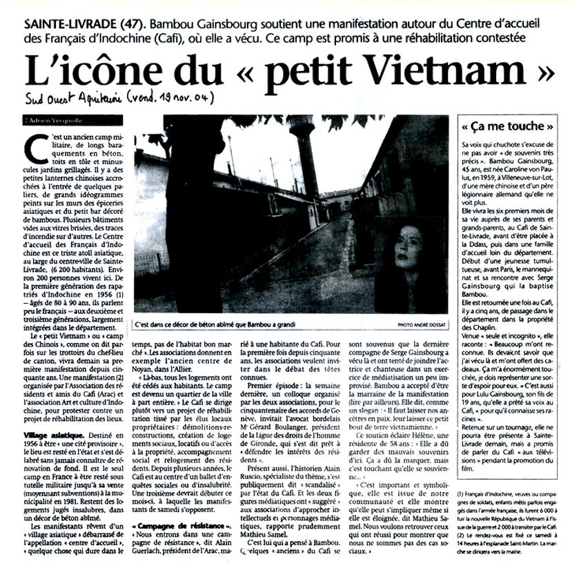 L'icône du « petit Viêtnam » - Sud-Ouest du 19 novembre 2004